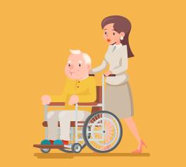 elderly man with his caregiver
