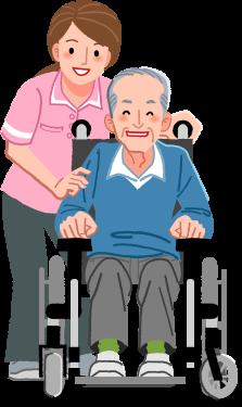 caregiver and elderly smiling