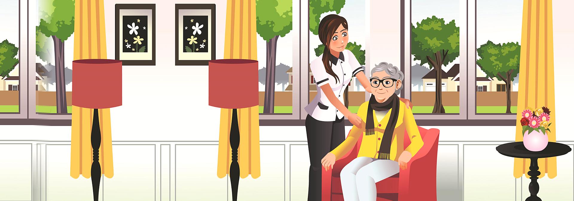 art work of caregiver and a senior