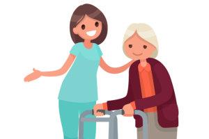 nurse assisting an elderly